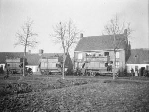 The 2nd Battalion, Royal Warwickshire Regiment being transported by bus through Dickebusch on their way to Ypres © IWM (Q 57329)