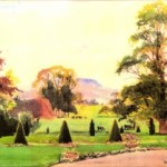 Watercolour of Bitham Hall lawn