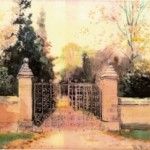 Watercolour of Bitham Hall Gates