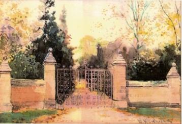 Watercolour of Bitham Hall Gates