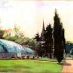 Watercolour of Bitham Hall Glasshouse