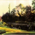 Watercolour of Bitham Hall lake