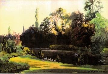 Watercolour of Bitham Hall lake